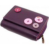 1642 Buttons Detail Medium Flap Over Leather Purse