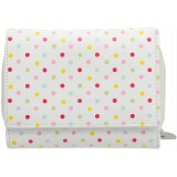 1642 Polka Small Leather Flap Over Purse with Coin Pocket (White)
