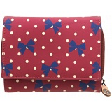 1642 Polka Small Leather Flap Over Purse with Coin Pocket (Bow Print)