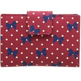 1642 Polka Medium Zip Around Leather Purse (Bow Print)
