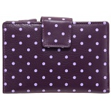 1642 Polka Medium Zip Around Leather Purse (Purple)