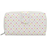 1642 Polka Dots Large Zip Around Leather Purse (White)