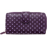 1642 Polka Dots Large Zip Around Leather Purse (Purple)