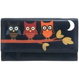 1642 Owl Applique Large Flap Over Leather Purse