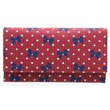 1642 Polka Dots Large Flap Over Leather Purse (Bow Print)