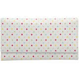 1642 Polka Dots Large Flap Over Leather Purse (White)