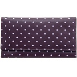 1642 Polka Dots Large Flap Over Leather Purse (Purple)