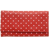 1642 Polka Dots Large Flap Over Leather Purse (Red)