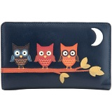 1642 Owl Applique Zip Around Leather Purse