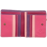 1642 Multi Colour Small Zip Around Leather Purse (Pink)