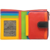 1642 Multi Colour Medium Zip Around Leather Tab Purse (Black)