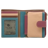 1642 Multi Colour Medium Zip Around Leather Tab Purse