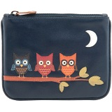 1642 Owl Applique Leather Zip Top Coin Purse
