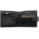 1642 Leather Two Fold Notecase Wallet with Zipped Note Section