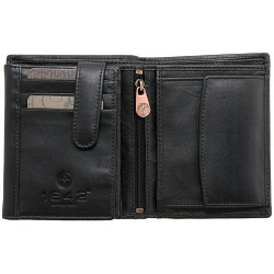 1642 Leather Two Fold Notecase Wallet with Zip Coin Pocket