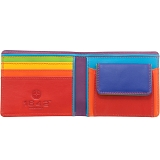 1642 Multi Colour Two Fold Leather Wallet with Coin Pocket (Black)