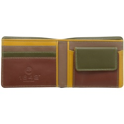 1642 Multi Colour Two Fold Leather Wallet with Coin Pocket