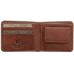 1642 Vachetta Two Fold Mens Leather Wallet with Coin Pocket