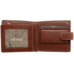 1642 Vachetta Two Fold Mens Leather Wallet with Coin Pocket and Tab