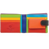 1642 Multi Colour Two Fold Leather Wallet with Coin Pocket and Tab