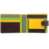 1642 Multi Colour Two Fold Leather Wallet with Coin Pocket and Tab (Brown)