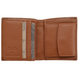 1642 Leather Two Fold Notecase Wallet with Coin Pocket