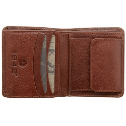 1642 Vachetta Two Fold Mens Vertical Leather Wallet with Coin Pocket
