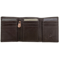 1642 Leather Three Fold Notecase Wallet with Zip Pocket