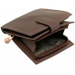 1642 Two Fold Mens Leather Tab Wallet with Coin Tray