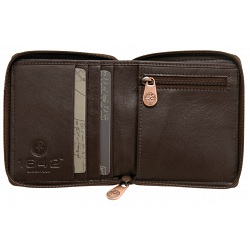 1642 Leather Zip Around Notecase Wallet with Coin Pocket