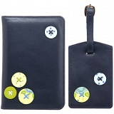 1642 Buttons Applique Leather Passport Holder and Luggage Tag