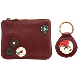 1642 Buttons Applique Zip Top Coin Purse and Keyring Gift Set