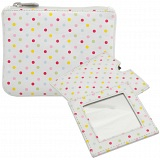 1642 Polka Leather Coin Purse and Mirror Gift Set (White)