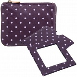 1642 Polka Leather Coin Purse and Mirror Gift Set (Purple)