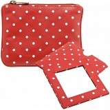 1642 Polka Leather Coin Purse and Mirror Gift Set (Red)