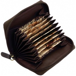 1642 Leather Zip Around Fan Style Credit Card Holder