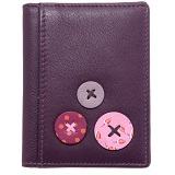 1642 Buttons Applique Slim Leather Credit Card Holder / Wallet