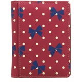 1642 Polka Slim Leather Credit Card Holder / Wallet (Bow Print)