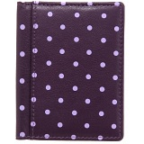 1642 Polka Slim Leather Credit Card Holder / Wallet (Purple)