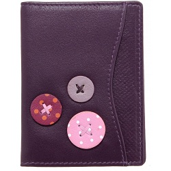 1642 Buttons Leather Travel Pass / Oyster Card Holder Wallet