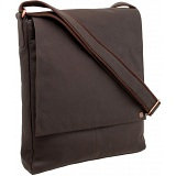 1642 Leather Flap Over Vertical Messenger Bag
