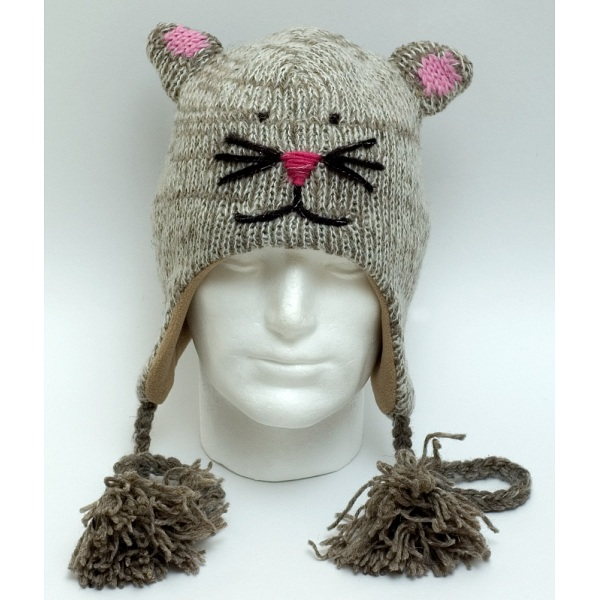 Animal Beanies Grey Mouse Woollen Adult   Kids Winter Beanie Cap   Hat 05615f8833e2
