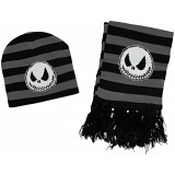 The Nightmare Before Christmas Grey Winter Beanie and Scarf Set / NBX / NBC