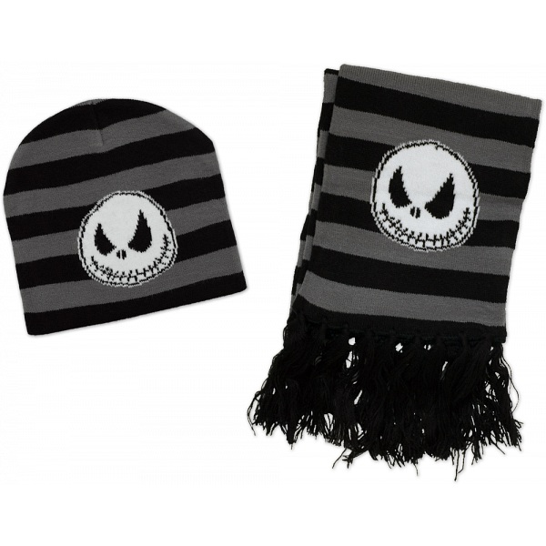 The Nightmare Before Christmas Grey Winter Beanie and Scarf Set ...
