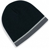 Beechfield Black / Grey Heavy Gauge Knitted Winter Beanie Cap