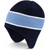 Beechfield Navy / Sky Blue Heavy Gauge Knitted Peru Winter Beanie Cap