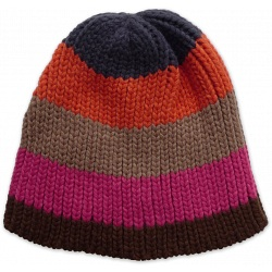 Ichi Multicolour Stripe Heavy Gauge Knitted Winter Beanie Cap