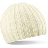 Beechfield Off White Chunky Knit Winter Beanie Cap