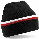 Beechfield Black / White / Red Stripe Knit Winter Beanie Cap