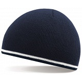 Beechfield French Navy / White Stripe Winter Beanie Cap